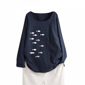 LOPILY 2019 Womens Long Sleeve Cotton Linen Kaftan Ladies Baggy Fish Print Shirt Tops M-5XL Autumn Winter Tops Soft Casual Shirts Navy XXXXXL