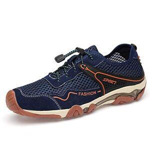 Huixiangjuan-Shoes Men Athletic Sneaker For Elastic Cord Mesh Fabric Outdoor Sports Hiking Mountain Climbing Shoes Hiking Walking Shoes (Color : Blue, Size : 41 Eu)
