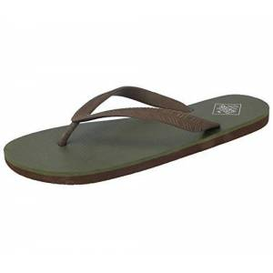 Freewaters Mens Tommy Toe Post Eva Max Cushion Lightweight Sporty Active Beach Water Friendly Flip Flops Mule Sandals Size 6-11 (Uk 10, Olive/brown)