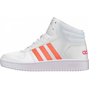 Adidas Kids Girls Hoops Mid Trainers Junior High Top Lace Up Padded Ankle Collar White/coral/white Uk 5 (38)