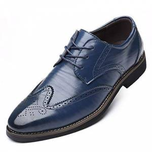 Hll-Men'S Shoes Men'S Fashion Shoes Carving Oxfords For Men Business Shoes Lace Up Microfiber Leather Rubber Sole Pointed Toe Stitch Anti-Skid Burnished Style Comfortable (Color : Blue, Size : 5 Uk)