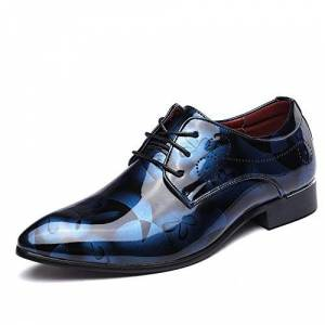 Joyto Business Shoes Mens Dress, Pointed Toe Patent Leather Lace Up Derby Oxford Wedding Fashionable Office Floral Vintage Casual - Blue -5 Uk