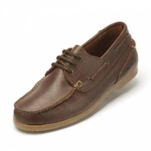Clifford James Mens Dartmouth Deck Leather Shoe Olive Brown Navy & Two Tone Brown Lace Up (10 Uk, Brown Lace Up)