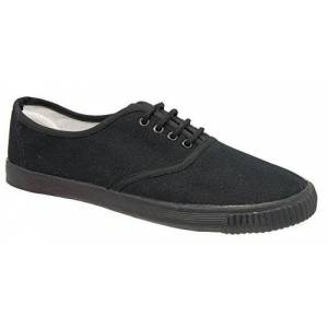 Dek Mens Black Canvas Laced Casual Plimsoll Shoes 6 To 12 (9)