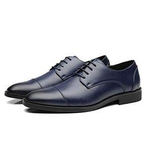Hll-Men'S Shoes Men'S Fashion Shoes Business Oxfords For Fashion Men Dress Shoes Lace Up Faux Leather Pointed Toe Low Top Block Heel Vegan Burnished Style Antislip Comfortable (Color : Blue, Size : 5 Uk)