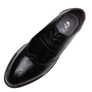 Anufer Men'S Smart Pointed-Toe Dress Shoes Lace-Up Formal Business Wedding Brogues Black P110 Uk5