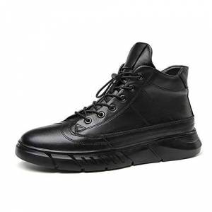 Hll-Men'S Shoes Men'S Fashion Shoes Leisure Ankle Boots For Men Fashion High-Top Sneakers Genuine Leather Lace Up Round Toe Platform Sport Casual Shoes (Fleece Inside Option) Comfortable Black