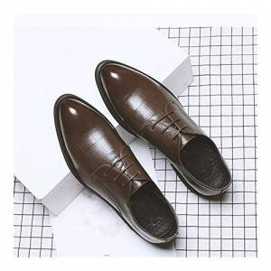 Hll-Men'S Shoes Men'S Fashion Shoes Gentle Oxfordsfor Men Business Shoes Lace Up Microfiber Leather Pointed Toe Grid Embossed Burnished Style Fleece Lined Optional Comfortable (Color : Brown, Size : 5 Uk)