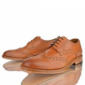 Taylor Mens Boys Leather Brogue Smart Lace Up Tan Goodyear Welted Sole Shoes Size (Uk8)