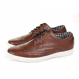 Shoes Click Mens Casual Smart Leather Lace Up Trainers Brogue Shoes Plimsolls 6 7 8 9 10 11 (8, Brown)