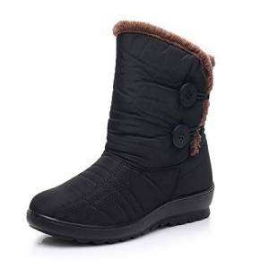 Zapzeal Shoes For Womens Waterproof Snow Boots Bread Winter Warm Flat Boots Black Size 2 Uk