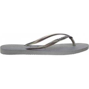 Havaianas Women'S Slim Logo Metallic Flip Flops, Steel Grey/rainbow Grey Glitter, 8/9 Uk 43/44 Eu