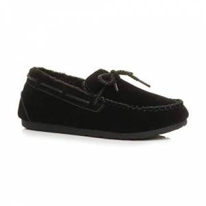 Ajvani Womens Ladies Fur Lined Flexible Sole Boat Shoes Moccasins Slippers Size 7 40 Black
