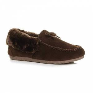 Ajvani Womens Ladies Fur Collar Lined Flexible Sole Moccasins Slippers Size 7 40 Brown