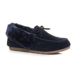 Ajvani Womens Ladies Fur Collar Lined Flexible Sole Moccasins Slippers Size 5 38 Navy