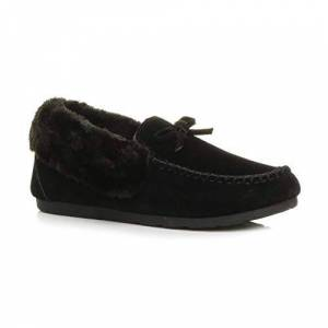 Ajvani Womens Ladies Fur Collar Lined Flexible Sole Moccasins Slippers Size 3 36 Black