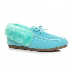 Ajvani Womens Ladies Fur Collar Lined Flexible Sole Moccasins Slippers Size 6 39 Blue