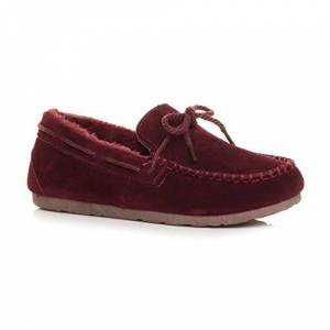 Ajvani Womens Ladies Fur Lined Flexible Sole Boat Shoes Moccasins Slippers Size 7 40 Burgundy