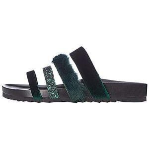 find. Womens Glitter Fur Slides Sandals, Green (Deep Green), 7 UK