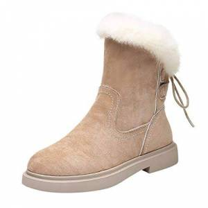 Barlingrock Womens Ankle Plush Warm Lined Winter Casual Boots Lady Back Up Cross Lace Up Winter Platforms Ankle Snow Boots Beige