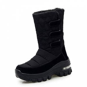 Aonegold Womens Winter Waterproof High Snow Boots Fur Lined Warm Shoes Anti Slip Outdoor Walking Boots Black.2 2.5 Uk