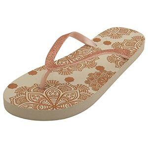 Sandrocks Ladies Summer Fun Printed Flip Flop White & Rose Gold Mandala 3/4 Uk