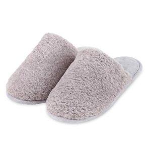 Totes Isotoner Ladies Textured Fur Mule Slippers Grey
