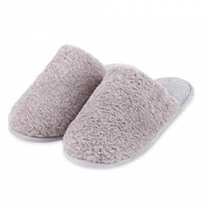 Totes Isotoner Ladies Textured Fur Mule Slippers Grey