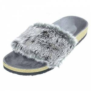 Autumn Faith Ladies Slippers Grey Luxury Faux Fur Sliders Plush Flip Flops Gold Glitter Comfortable Non-Slip Sole Womens Open Toe House Shoe Indoor Home Size 7-8 Uk