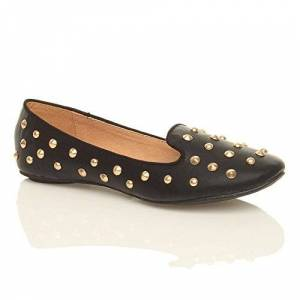 Ajvani Womens Ladies Flat Spike Studded Gem Slippers Loafers Pumps Shoes Size 4 37