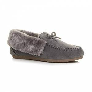 Ajvani Womens Ladies Fur Collar Lined Flexible Sole Moccasins Slippers Size 8 41 Grey
