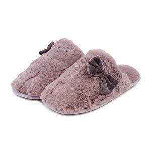 Totes Women'S Ladies Textured Fur Mule Slippers Open Back, Purple (Mink Mnk), S 3-4 Uk