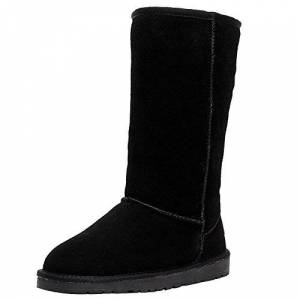 Jamron Womens Classic Below Knee Thermal Suede Half Snow Boots Thick Faux Fur Lined Winter Boots Black S1015 Uk7.5