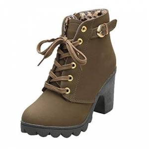 Bringbring Boots Bringbring Womens Snow Boots High Heel Martin Boots Lace Up Ankle Boots Spike Heels Slip Resistant Ladies Buckle Platform Shoes(35,Army Green)