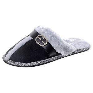 Xss Ladies Black Faux Suede Mule Slippers Faux Fur Lining Non-Slip Hard Soles 3-4