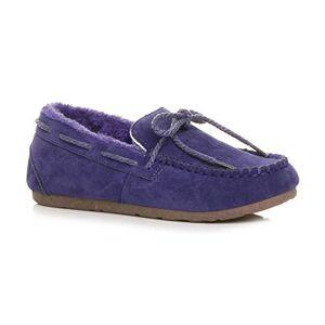 Ajvani Womens Ladies Fur Lined Flexible Sole Boat Shoes Moccasins Slippers Size 8 41 Purple