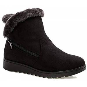 Hsyooes Womens Comfort Warm Fur Lined Boots Winter Snow Boots Ladies Non Slip Ankle Short Booties Low Heel Flats Comfy Boots Shoes, 4.5 Uk, Black