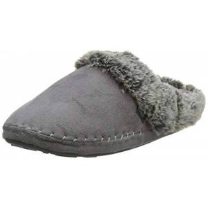 Totes Women'S'S Ladies Suedette Fur Mule Slippers Open Back, Grey (Grey Gry), 7/8 Uk (Manufacturer Size: L)