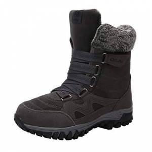Zhongke Womens Snow Boots Non-Slip Winter Fur Lined Warm Comfort For Outdoor Walking Hiking Trekking Lace-Up Shoes Grey