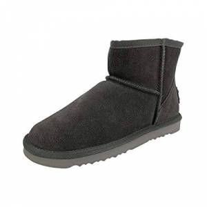 Oog Generation Womens Classic Short Snow Boot Fur Lined Winter Snow Boots Ankle Booties Grey Size 4.5
