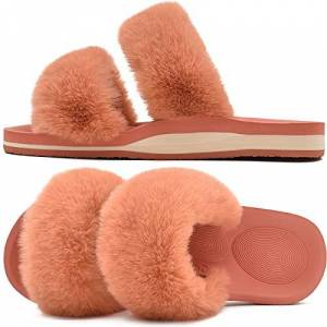 Coface Ladies-Fur-Sliders-Fluffy-Orthotic-Slippers-For-Women Arch Support Open Toe Plush House Slides Comfortable Memory-Foam Flat Sandals Plantar Fasciitis Shoes Size 6.5 Orange