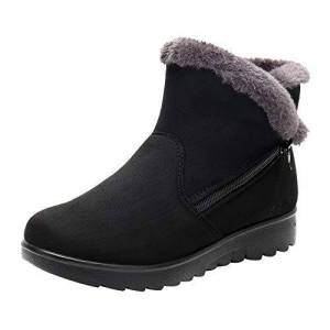 Vemow Sotre Vemow Ladies Boots Womens Ankle Boots Winter Ankle Short Snow Boots Fur Footwear Warm Shoes (Black, 5 Uk)
