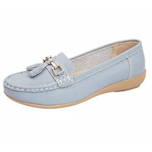 Jo & Joe Ladies Leather Loafer Shoes Plimsole Pumps Womens Flat Shoes Baby Blue Size Uk 4 Eu 37