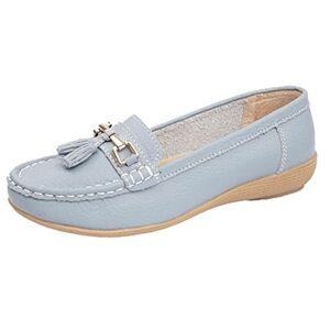 Jo & Joe Ladies Leather Loafer Shoes Plimsole Pumps Womens Flat Shoes Baby Blue Size Uk 4 Eu 37