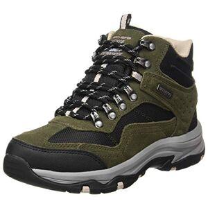 Skechers Women'S Trego - Base Camp Hiking Boot, Olive Suede Back Textile Dark Natural Trim, 8 Uk