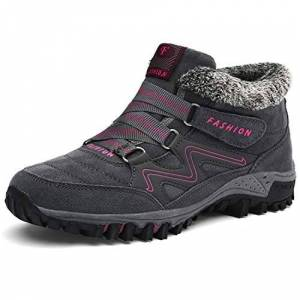 Baimojia Womens Mens Hiking Boots Faux Fur Lined Warm Snow Boots Outdoor Non Slip Winter Walking Trekking Shoes Grey Pink Uk 4