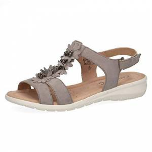 Caprice 28151-22 Women Strappy Sandals,Sandal,Strappy Sandals,Summer Shoes,Comfortable,Flat,(201) Lt Grey Suede,41 Eu,41 Eu