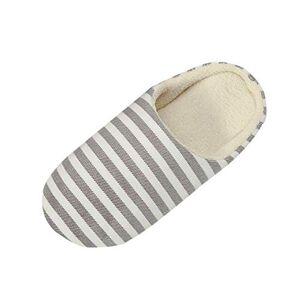 Yvelands Women Men Cotton Slippers Winter Warm Soft Sole Home Slipper Striped Printed Indoorsanti-Slip Winter Indoor Shoes Coffee