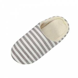Yvelands Women Men Cotton Slippers Winter Warm Soft Sole Home Slipper Striped Printed Indoorsanti-Slip Winter Indoor Shoes Coffee