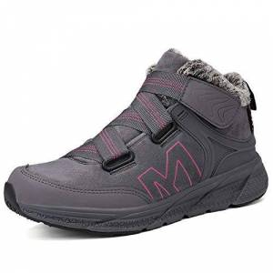 Yuktopa Mens Womens Snow Boots Winter Warm Fur Lined Ankle Boots Anti-Slip Water Resistance Walking Shoes Outdoor Hiking Shoes Sneakers Grey Plum Red 41